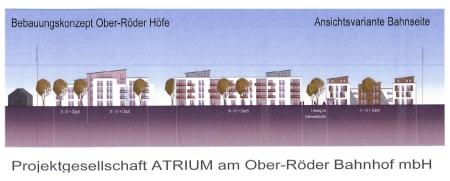 Bebauung an der Odenwaldstraße. Ansicht Bahnseite