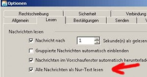 Mail im Textformat erhalten.