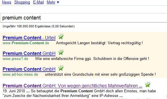 Premium Content GmbH. Bezahlte Werbung bei Google. Ein Klick auf einen dieser Link's und dann kostet das der Premium-Content GmbH Geld.