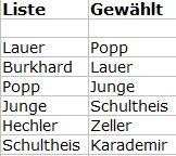 Gewählte Kandidaten der SPD