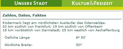 Stadt Rödermark. Hinweis auf den 50. Breitengrad