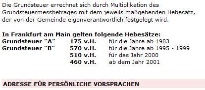 Frankfurt und die Grundsteuer B