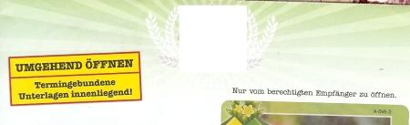 Umschlag 1. Keine Briefmarke. Kein Poststempel