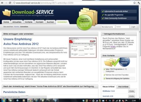 Umleitung von Suchmaschine. Webseite mit Preishinweis. Bildschirm 1024 x 768 (26.05.2012)