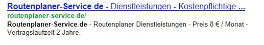 Auszug aus der Ergebnisliste bei Google (SERP)