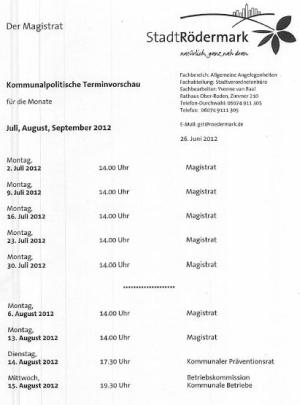 Kommunalpolitischer Kalender Rödermark