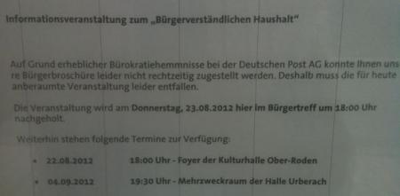 Absage Informationsveranstaltung Waldacker