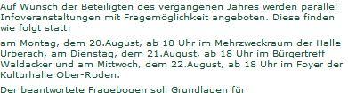 Keine Info auf der Webseite der Stadt bis zu 21.08.2012 18.45 h