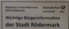 Postwurf der Stadt Rödermark zur Bürgerbefragung