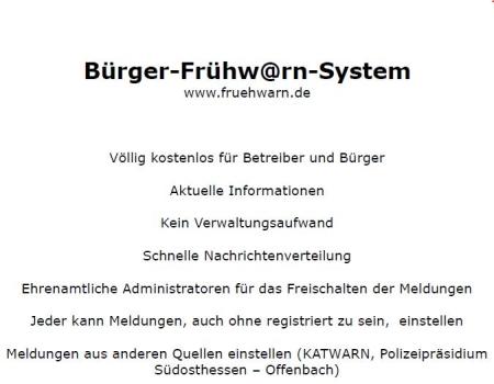 Konzept für das Bürger-Frühwarn-System für Rödermark