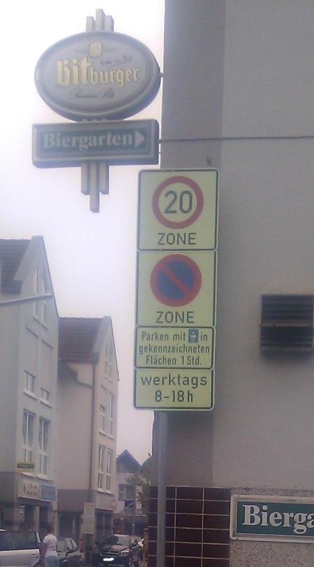 Parkscheibe. Rödermark Frankfurter Strasse, Dieburger Strasse