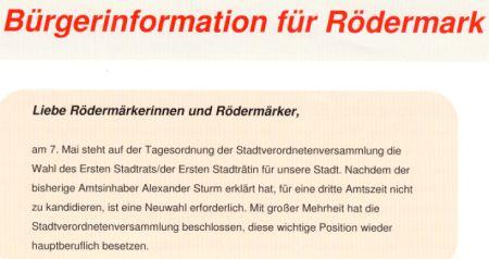 Info zum Ernsen Stadtrat. CDU/AL Die Grünen