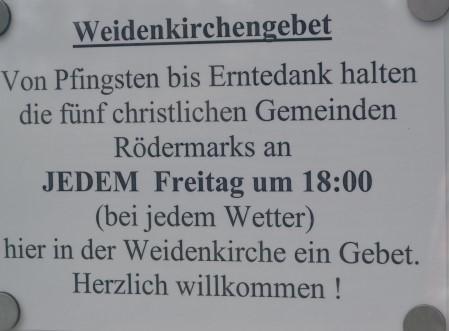 Weidenkirche Hinweis