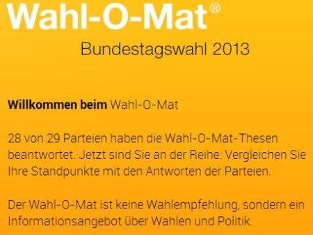 Bundestagswahl 2013. Wahl-O-Mat. Einfach das Bild anklicken.