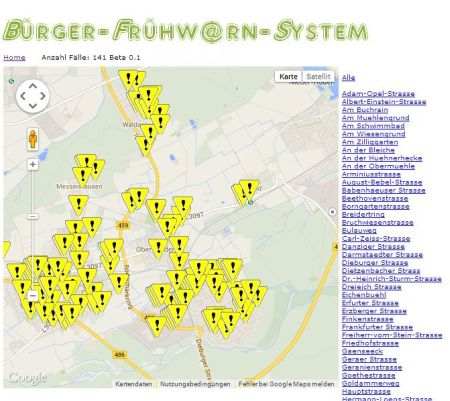 Karte der Delikte in Rödermark