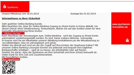 Phishing-Mail Sparkasse