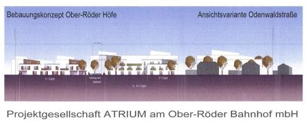 Bebauung an Bebauung an der Odenwaldstraße. Ansicht von der Odenwaldstraße