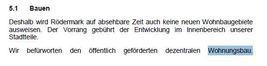 Aus dem Koalitionsvertrag CDU / AL/Die Grünen