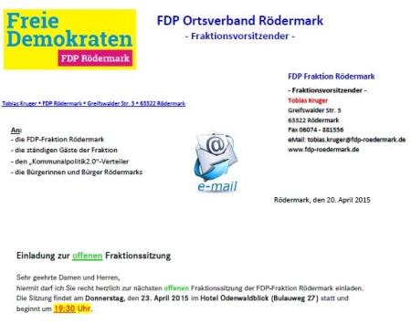 FDP Rödermark. Offene Fraktionssitzung 23.05.2015