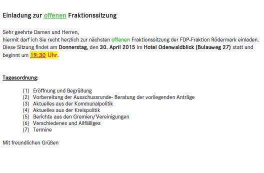 Fraktionssitzung. FDP-Rödermark 30.04.2015