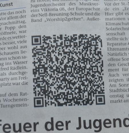QR-Code im Heimatblatt