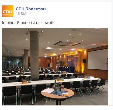 In einer Stunde ist es soweit. CDU Rödermark.