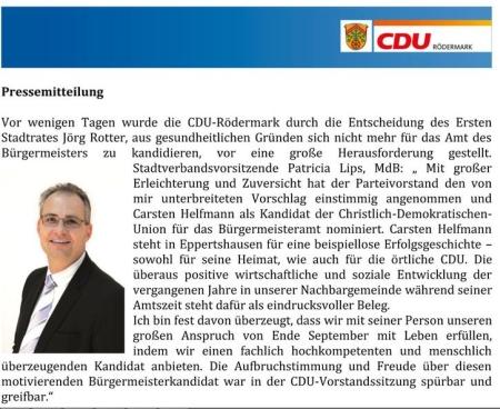 Bürgermeisterkandoidat der CDU. Carsten Helfmann