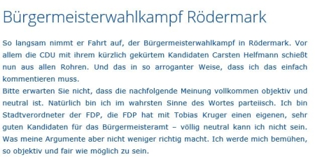 Beurteilung der BM-Kandidaten von Dr. Rüdiger Werner.