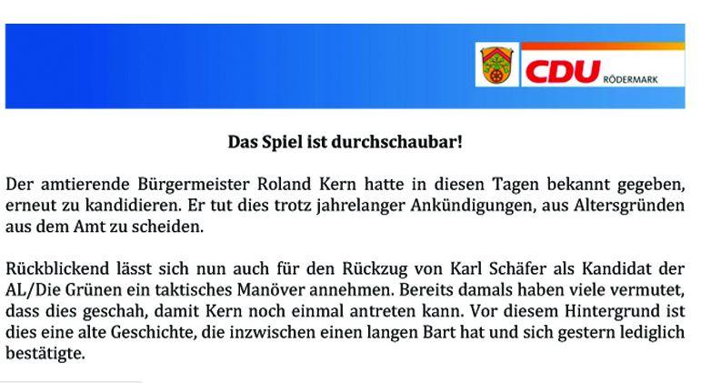 CDU Rödermark zur Kandidatur von Roland Kern