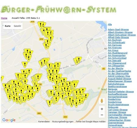 BKANNTE Delikte in Rödermark auf einer Karte dargestellt.
