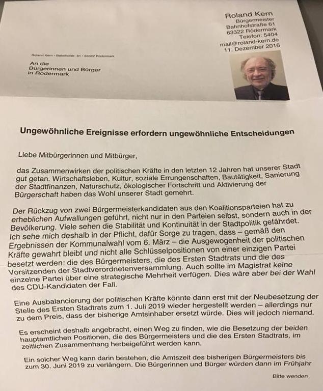 Brief von Roland Kern an die Bürger von Rödermark. Seite 1