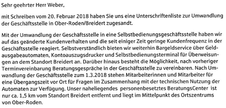 Sparasse. Brief an die Initiative Breidert.