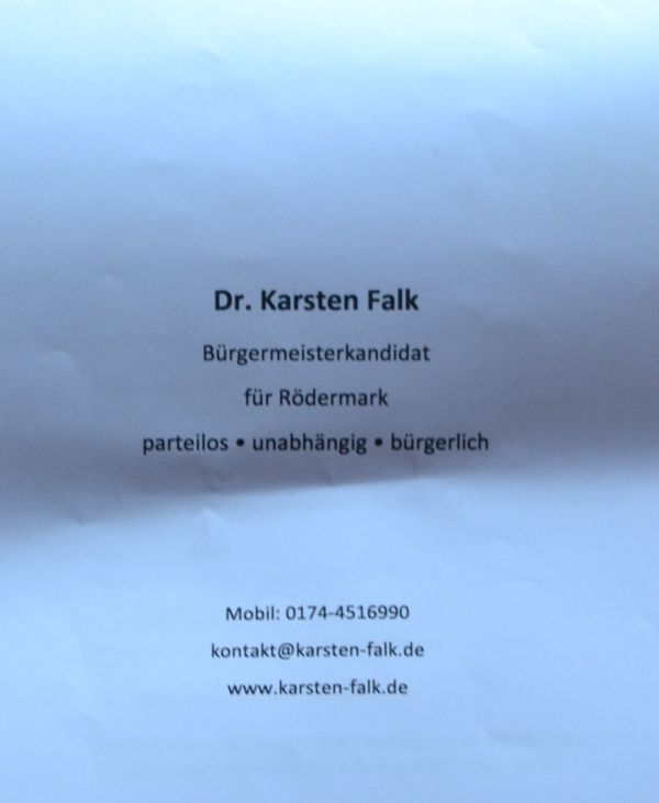 Karsten Falk. Bürgermeisterkandidat 2017 für Rödermark