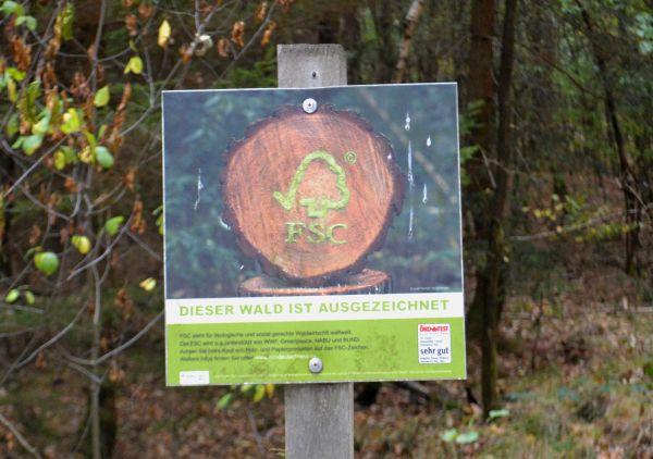FSC. Forest Stewardship Council. Gesehen im Breidert.