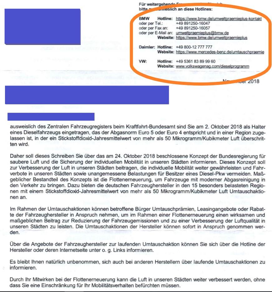 Brief vom Kraftfahrt-Bundesamt