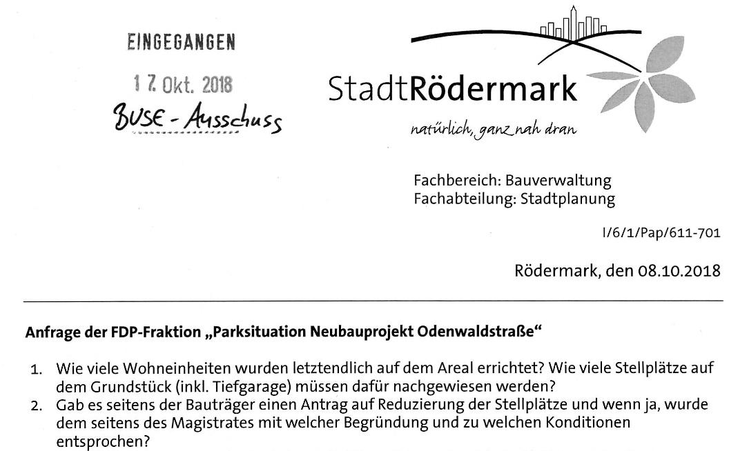 Parksituation Neubaugebiet Odenwaldstrass