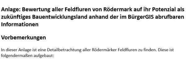 Bewertung aller Feldfluren von Rödermark auf ihr Potenzial