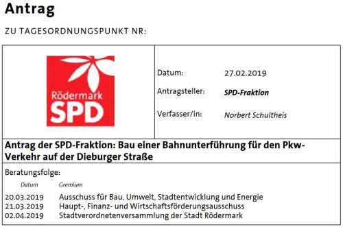 Antrag der SPD. Bahnunterführung in Ober-Roden.