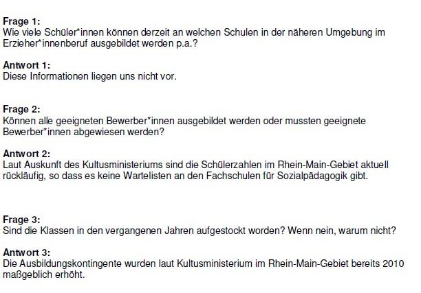Kreis Offenbach. Anfrage Erzieher.