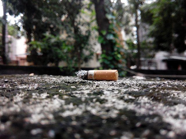 Zigarettenkippen sammeln.