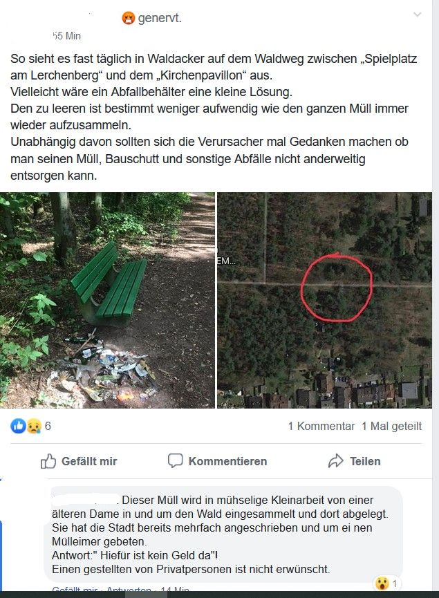 Müll in Waldacker. (Aus Facebook)