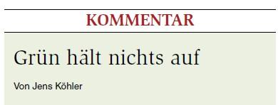 Kommentar Jens Köhner zu den Grünen.