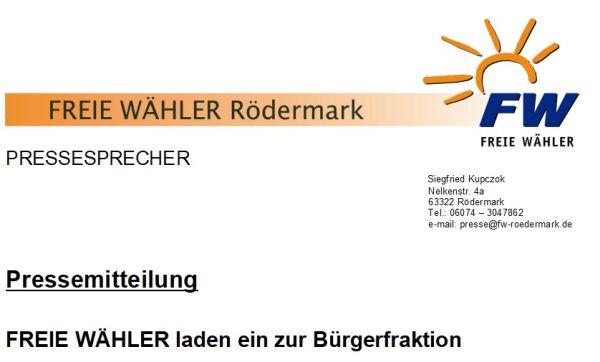 FWR. Einladung Bürgerfraktion.