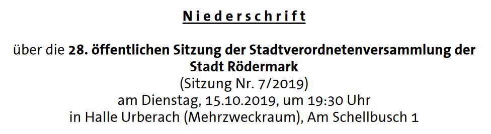 Niederschrift. Stavo 15.10.2019