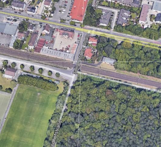 S1. Bahnübetführung Offenbach Bieber. Quelle: Google Earth