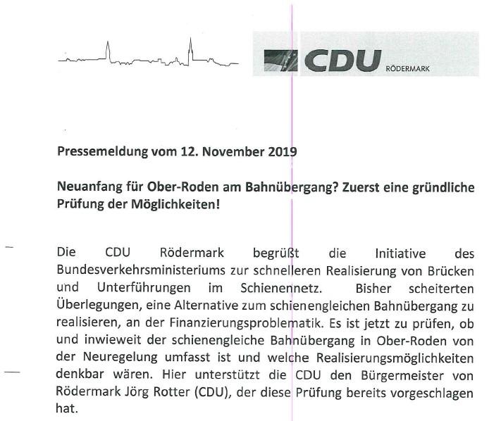 PM der CDU Rödermark zur Bahnunterführung