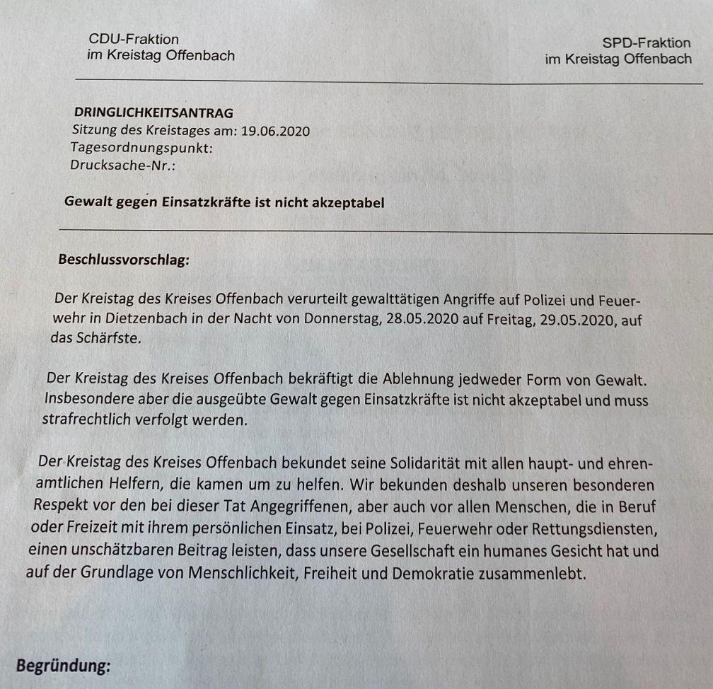 Dringlichkeitsantrag der CDU/SPD im Kreistag