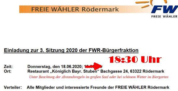 FWR Bürgerfraktion 18.06.2020