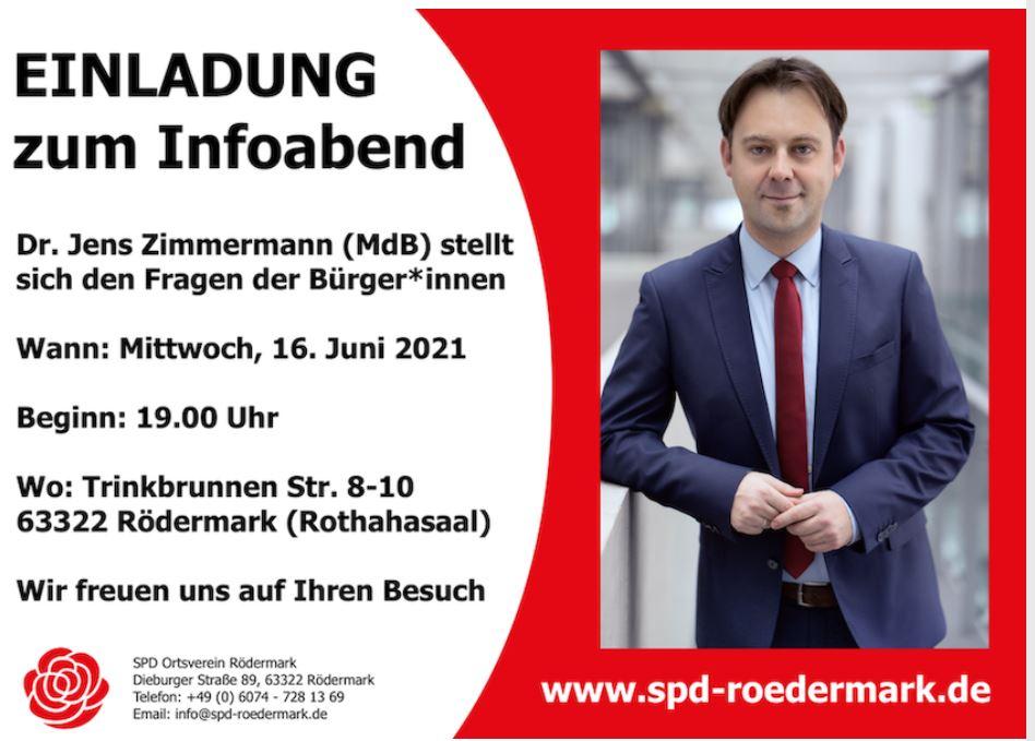 SPD. Zimmermann MdB Jens Zimmermann am 16 Juni in Rödermark