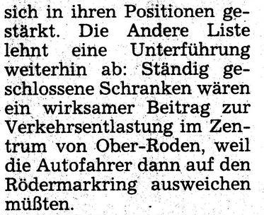 AL/Die Grünen. Bahnunterführung Dieburger Straße. 1995